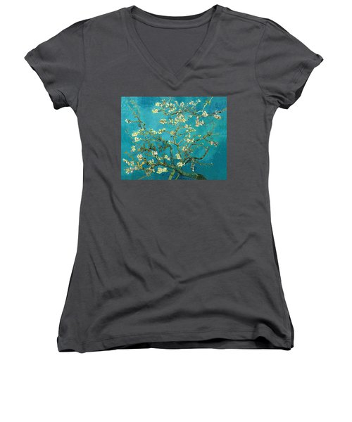 Women's V-Neck featuring the painting Blossoming Almond Tree by Van Gogh