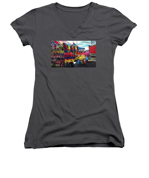 Women's V-Neck T-Shirt (Junior Cut) featuring the photograph Blowed Up by Steve Sperry