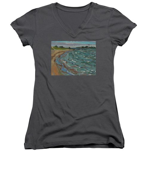 Blown Away Southampton Beach Women's V-Neck T-Shirt (Junior Cut)