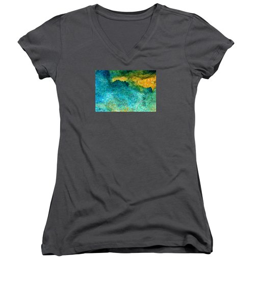 Blue Abstract #5 Women's V-Neck (Athletic Fit)