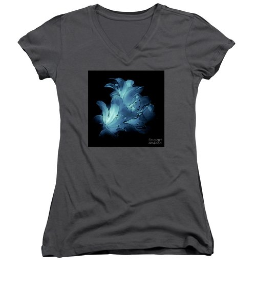 Blue Abstract No. 1 Women's V-Neck (Athletic Fit)