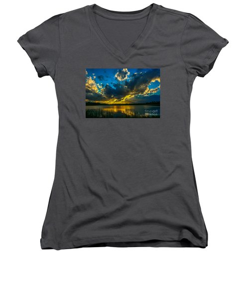 Blue And Gold Sunset With Rays Women's V-Neck T-Shirt (Junior Cut) by Tom Claud