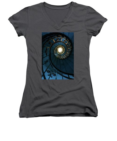 Women's V-Neck T-Shirt (Junior Cut) featuring the photograph Blue And Golden Spiral Staircase by Jaroslaw Blaminsky