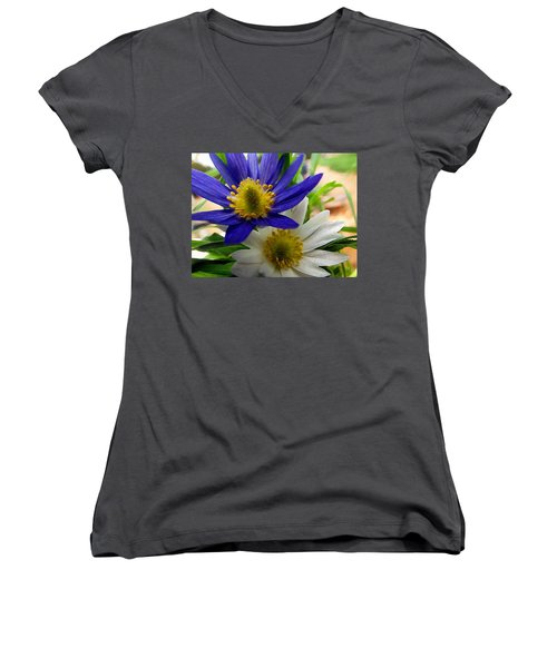 Women's V-Neck featuring the digital art Blue And White Anemones by Shelli Fitzpatrick