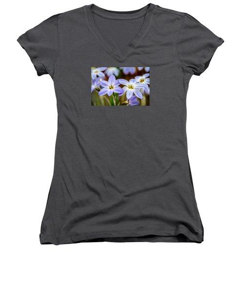 Blue And White Flowers  Women's V-Neck T-Shirt (Junior Cut) by Martina Fagan