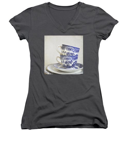Blue And White Stacked China. Women's V-Neck (Athletic Fit)