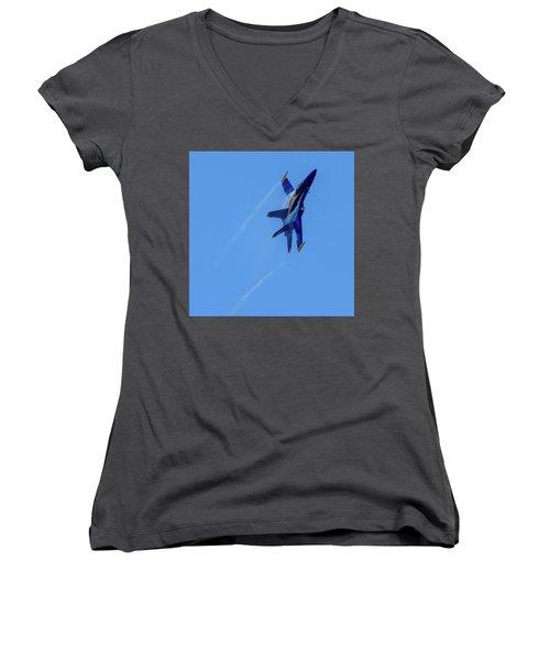 Women's V-Neck T-Shirt featuring the photograph Blue Angel 5 Contrails by Randy Scherkenbach