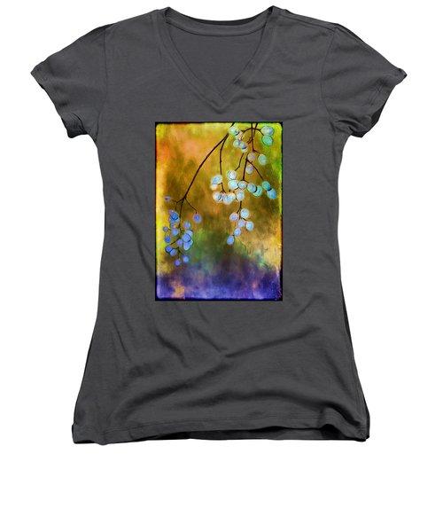 Blue Autumn Berries Women's V-Neck T-Shirt
