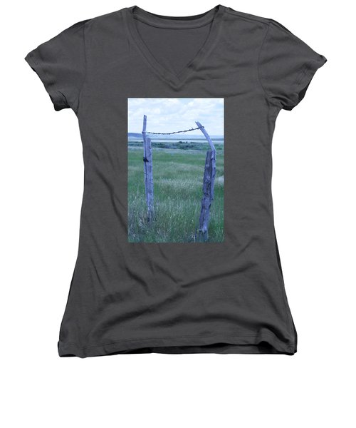 Women's V-Neck T-Shirt (Junior Cut) featuring the photograph Blue Barbwire by Mary Mikawoz