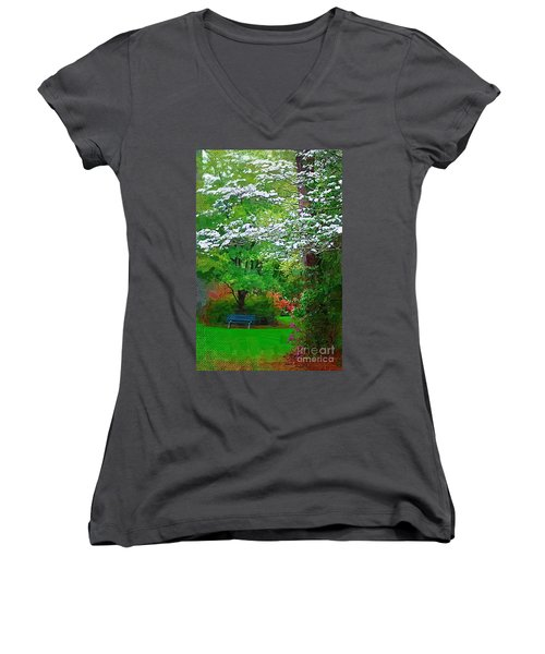 Women's V-Neck T-Shirt (Junior Cut) featuring the photograph Blue Bench In Park by Donna Bentley