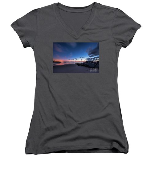 Blue Betsy Sunrise Women's V-Neck T-Shirt (Junior Cut) by Robert Loe