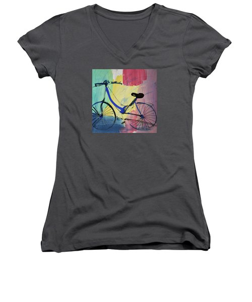 Blue Bicycle Women's V-Neck T-Shirt