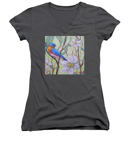 Blue Bird And Blossoms Women's V-Neck (Athletic Fit)