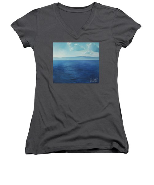 Blue Blue Sky Over The Sea  Women's V-Neck (Athletic Fit)