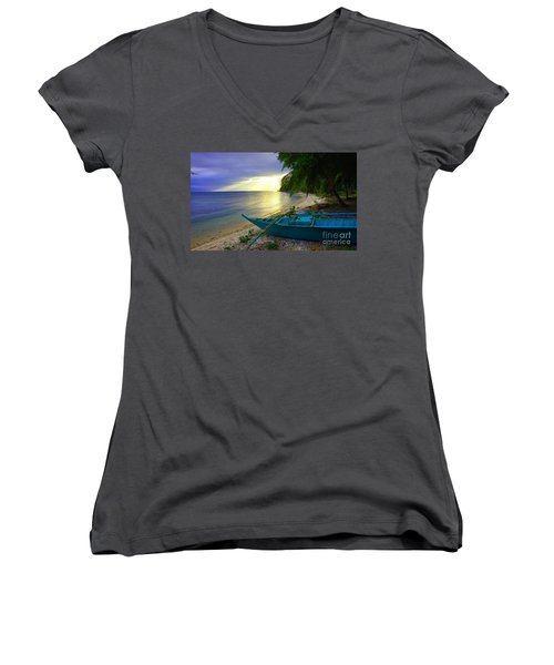 Blue Boat And Sunset On Beach Women's V-Neck