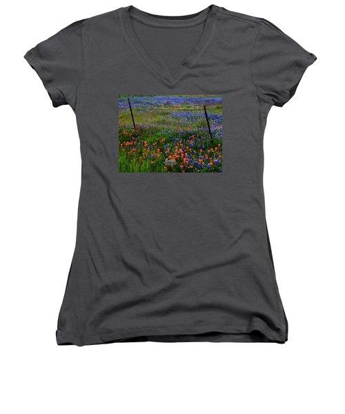 Women's V-Neck T-Shirt (Junior Cut) featuring the photograph Bluebonnets #0487 by Barbara Tristan