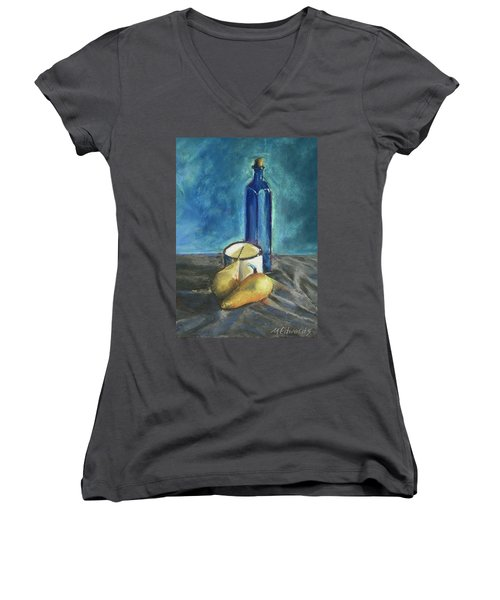 Blue Bottle And Pears Women's V-Neck T-Shirt (Junior Cut) by Marna Edwards Flavell