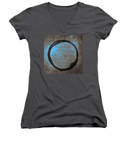 Blue Brown Enso Women's V-Neck T-Shirt (Junior Cut)