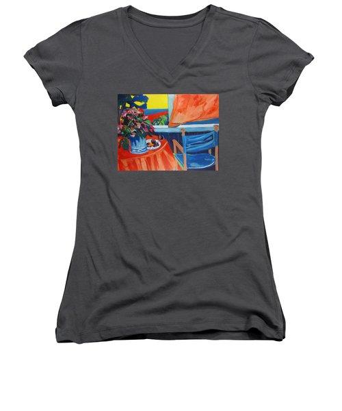 Blue Canvas Chair Women's V-Neck T-Shirt