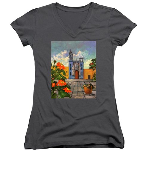 Blue Church   Iglesia Azul Women's V-Neck
