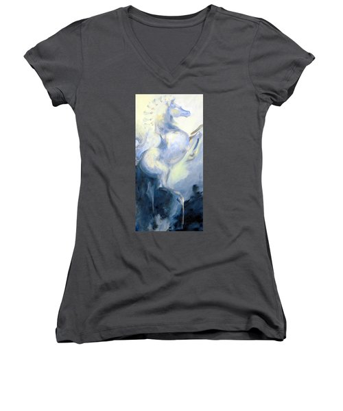 Blue Circus Pony 1 Women's V-Neck T-Shirt (Junior Cut) by Dina Dargo