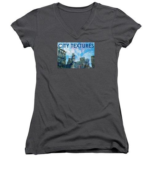 Blue City Textures Women's V-Neck T-Shirt (Junior Cut) by John Fish