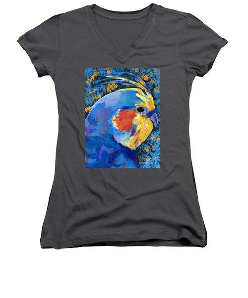 Blue Cockatiel Women's V-Neck T-Shirt