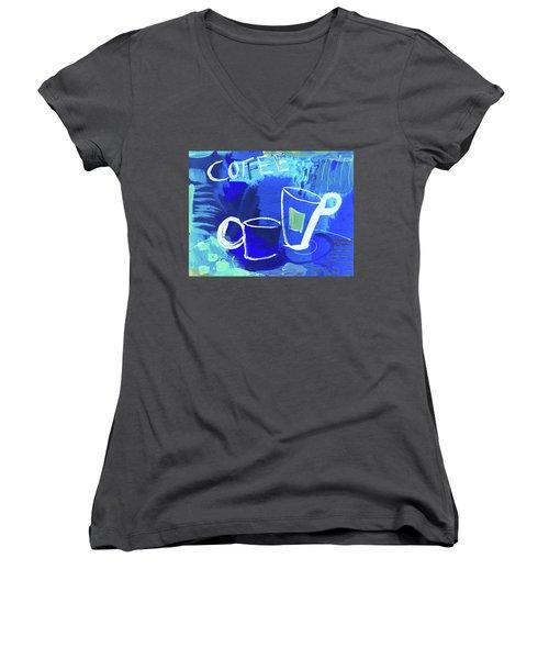 Blue Coffee Women's V-Neck T-Shirt (Junior Cut) by Amara Dacer
