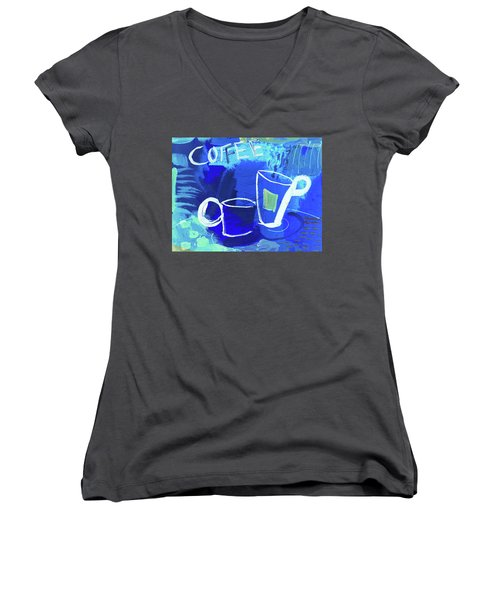 Blue Coffee Women's V-Neck T-Shirt