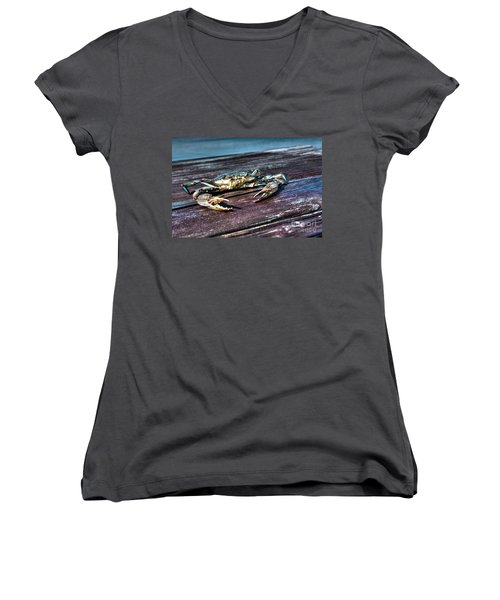 Blue Crab - Above View Women's V-Neck
