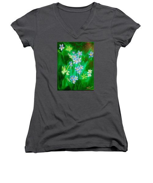 Blue Crocus Flowers Women's V-Neck T-Shirt (Junior Cut) by Renee Michelle Wenker