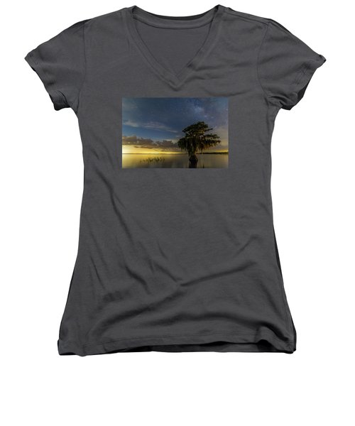 Blue Cypress Lake Nightsky Women's V-Neck (Athletic Fit)