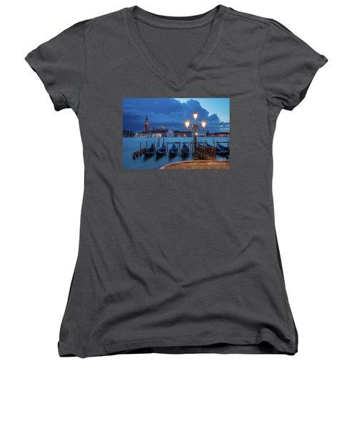 Women's V-Neck T-Shirt (Junior Cut) featuring the photograph Blue Dawn Over Venice by Brian Jannsen