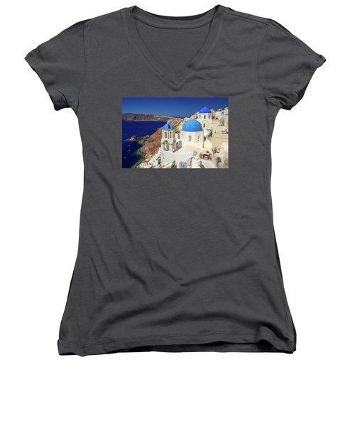 Blue Domed Churches Women's V-Neck T-Shirt (Junior Cut) by Emmanuel Panagiotakis