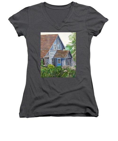 Blue Door Women's V-Neck T-Shirt (Junior Cut) by Marilyn  McNish