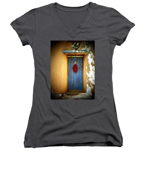 Blue Door With Chiles Women's V-Neck T-Shirt (Junior Cut) by Joseph Frank Baraba