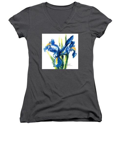Blue Dutch Iris Flower Painting Women's V-Neck (Athletic Fit)