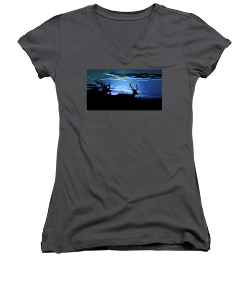 Women's V-Neck T-Shirt (Junior Cut) featuring the mixed media Blue Elk Dreamscape by Mike Breau
