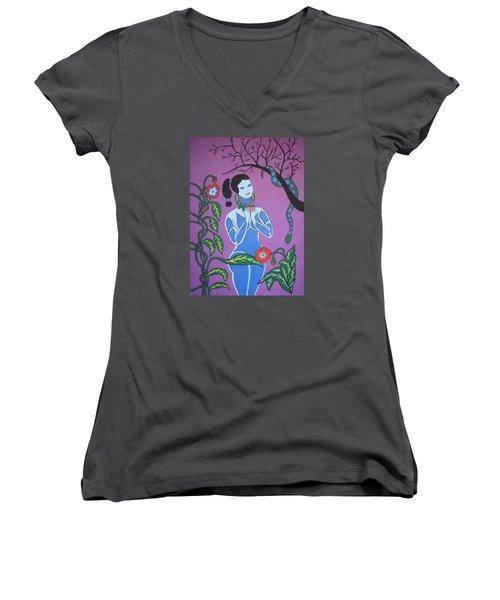 Blue Eve  No. 2 Women's V-Neck T-Shirt