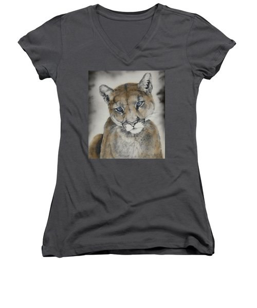 Blue Eyes Women's V-Neck T-Shirt (Junior Cut) by Lori Brackett