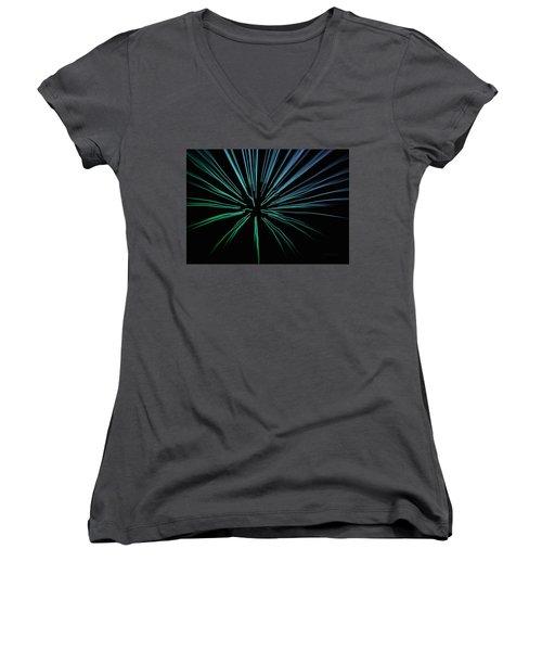 Women's V-Neck T-Shirt (Junior Cut) featuring the photograph Blue Firework by Chris Berry