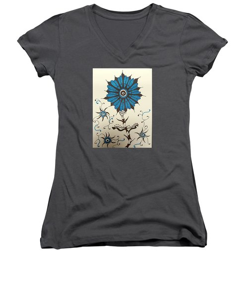 Blue Flower 1 Women's V-Neck T-Shirt