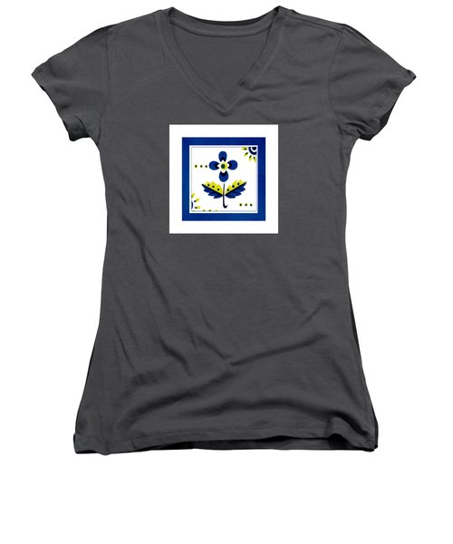 Blue Flower Illustration Women's V-Neck T-Shirt (Junior Cut)