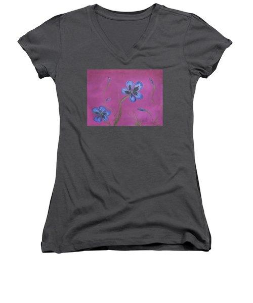 Blue Flower Magenta Background Women's V-Neck (Athletic Fit)