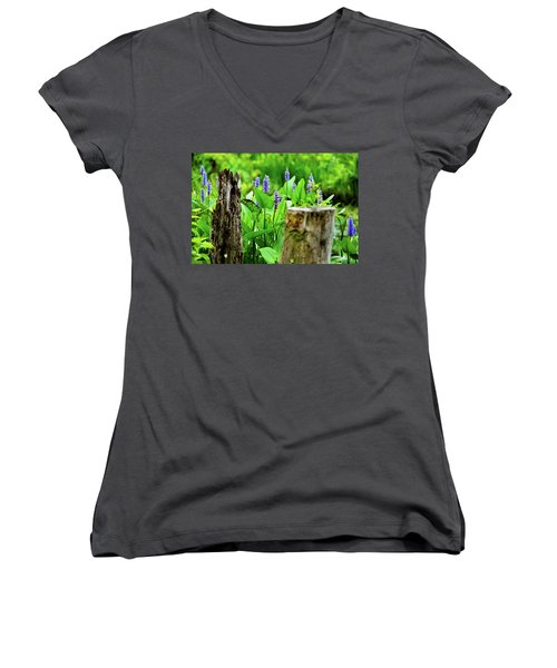 Blue Flowers And Artistic Logs Women's V-Neck