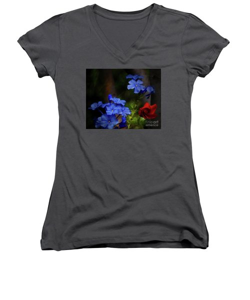 Blue Flowers Growing Up The Apple Tree Women's V-Neck (Athletic Fit)