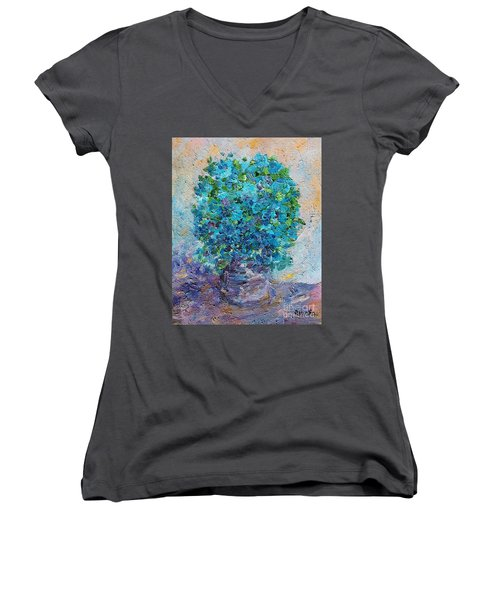 Blue Flowers In A Vase Women's V-Neck (Athletic Fit)