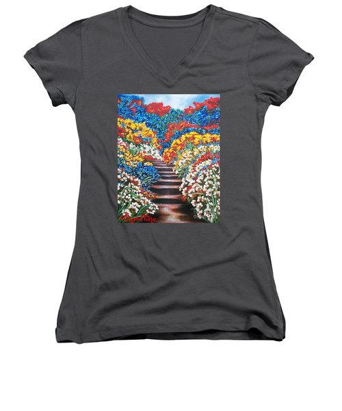 Women's V-Neck T-Shirt (Junior Cut) featuring the painting Blue Garden Cascade by Sigrid Tune