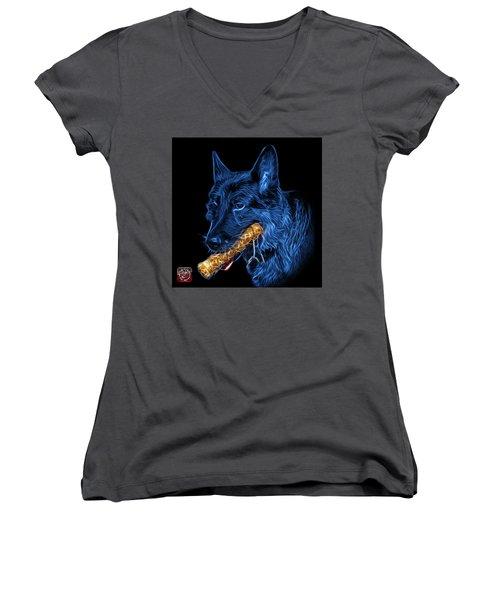 Women's V-Neck T-Shirt (Junior Cut) featuring the digital art Blue German Shepherd And Toy - 0745 F by James Ahn