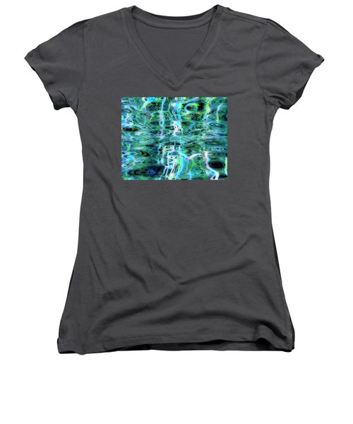 Blue Green Abstract 091015 Women's V-Neck T-Shirt (Junior Cut) by Matt Lindley
